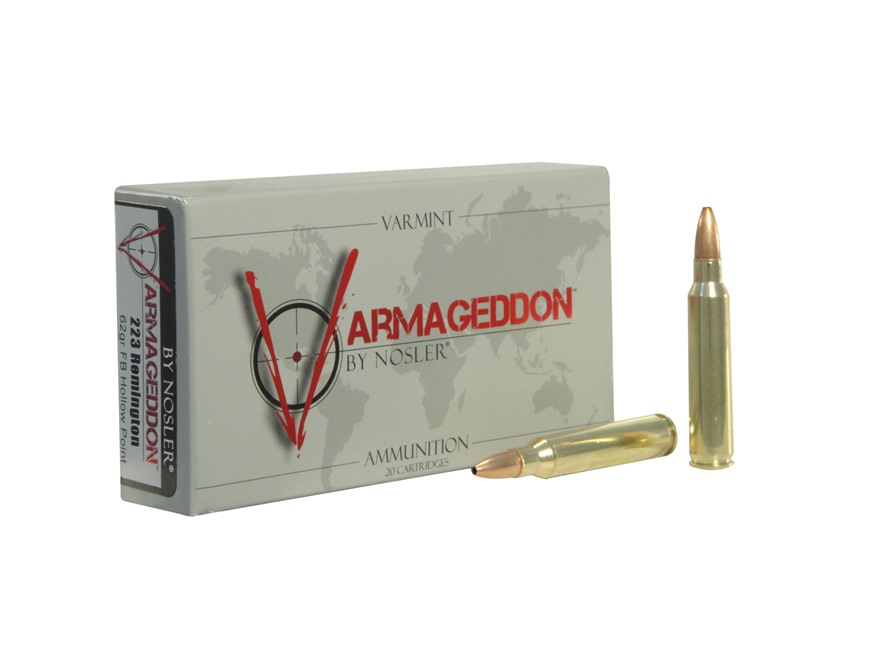 Nosler Varmageddon Ammunition 223 Remington 62 Grain Hollow Point Flat Base Box of 20