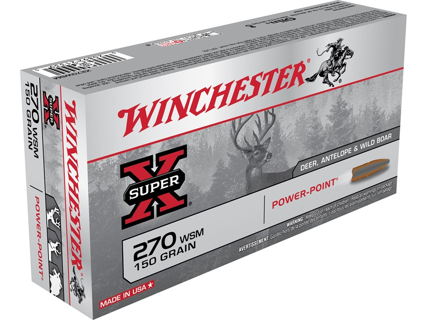 Winchester Super-X Ammunition 270 Winchester Short Magnum (WSM) 150 Grain Power-Point Box of 20