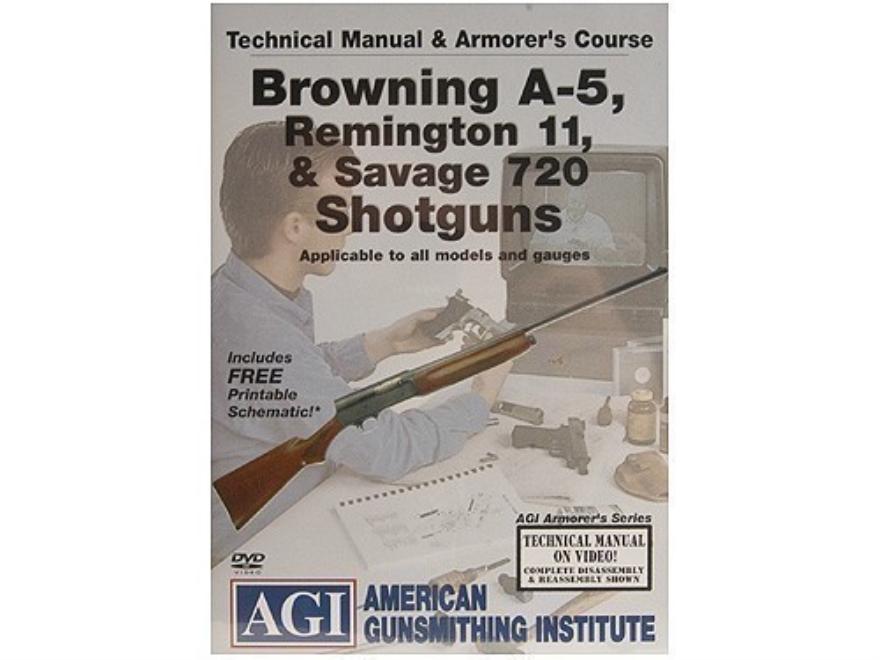 "American Gunsmithing Institute (AGI) Technical Manual & Armorer's Course Video ""Browning A-5, Remington 11, & Savage 720 Shotguns"" DVD"