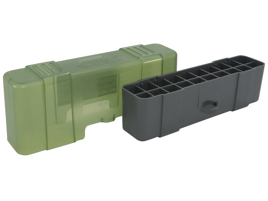 Plano Ammo Box 220 Swift, 243 Winchester, 308 Winchester 20-Round Plastic Olive Drab and Clear Green