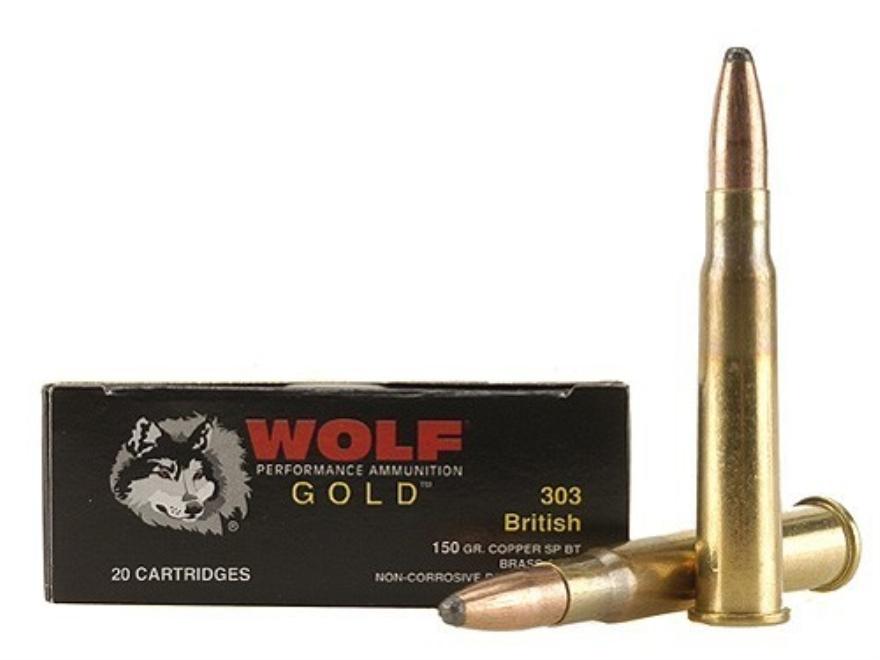 Wolf Gold Ammunition 303 British 150 Grain Soft Point Box of 20