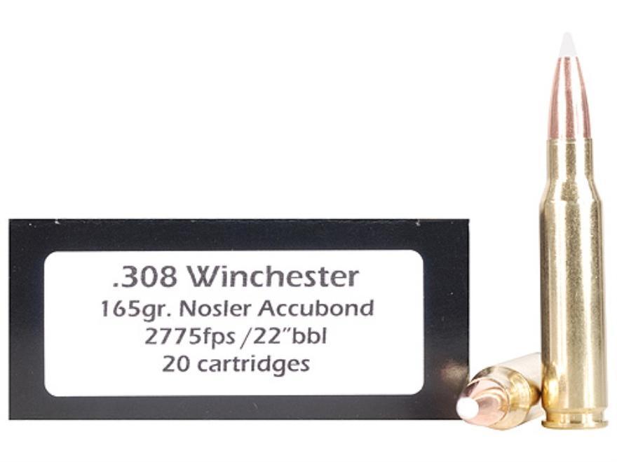 Doubletap Ammunition 308 Winchester 165 Grain Nosler AccuBond Spitzer Box of 20
