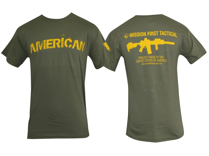 Mission First Tactical American T-Shirt Short Sleeve Cotton Olive Drab Small