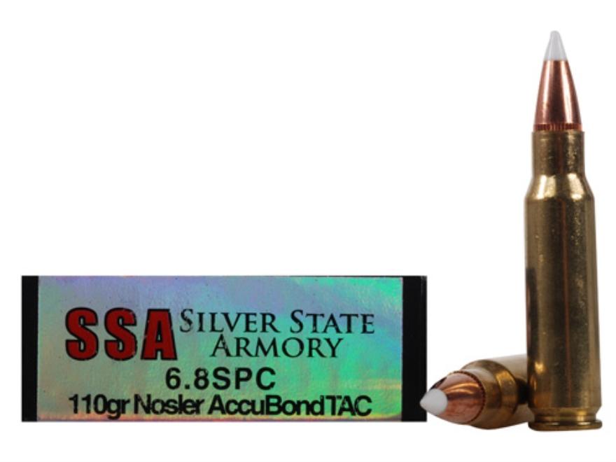 Silver State Armory Ammunition 6.8mm Remington SPC 110 Grain Nosler AccuBond Tactical B...