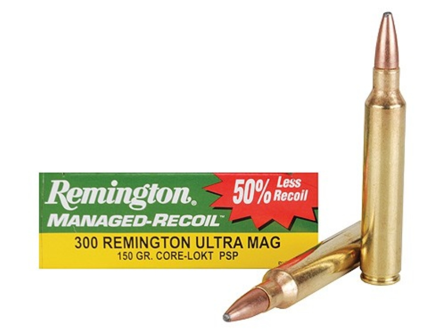 Remington Managed-Recoil Ammunition 300 Remington Ultra Magnum 150 Grain Pointed Soft P...