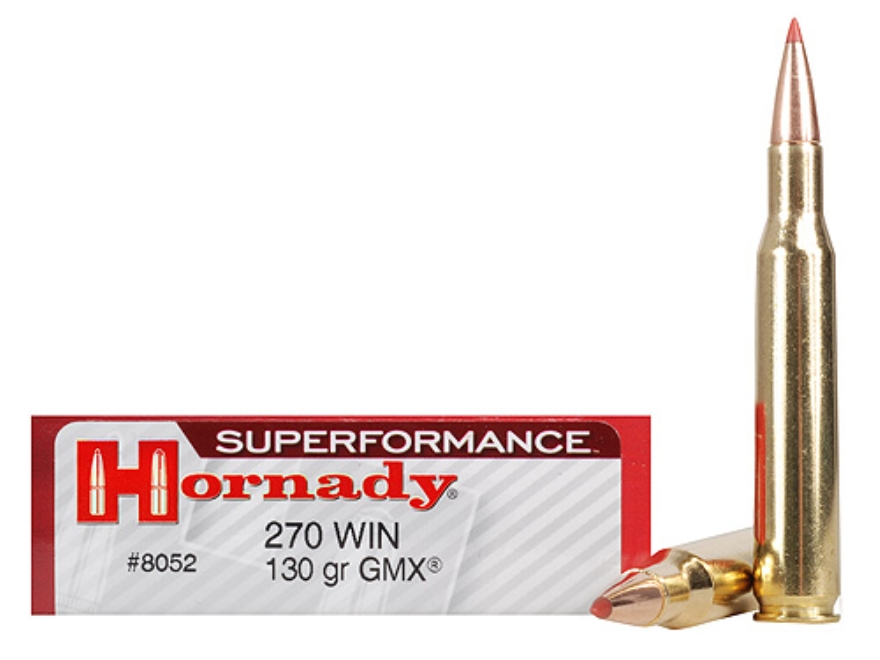 Hornady Superformance GMX Ammunition 270 Winchester 130 Grain GMX Boat Tail Lead-Free Box of 20