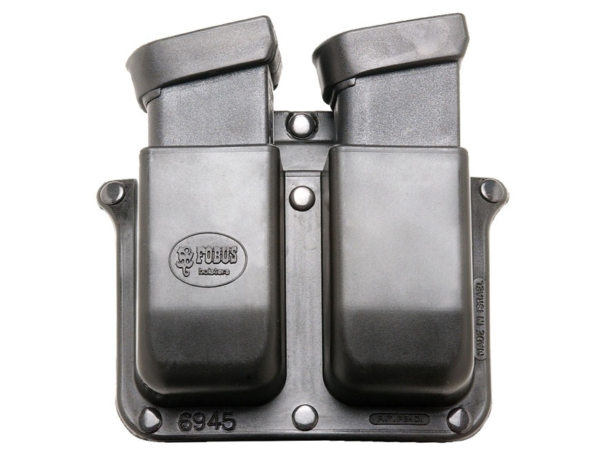 Fobus Belt Double Magazine Pouch Double-Stack Glock, Para-Ordnance 10mm Auto, 45 ACP Polymer Black