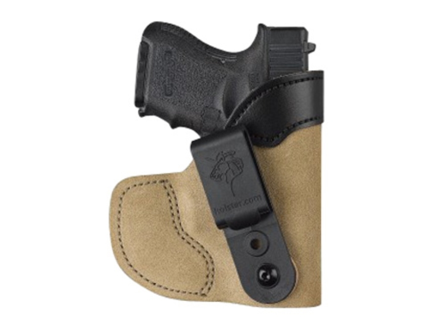 DeSantis Pocket-Tuk Inside the Waistband or Pocket Holster Beretta Nano, Glock 26, 27 with Laserguard, Ruger LC9 with Laserguard Leather Brown