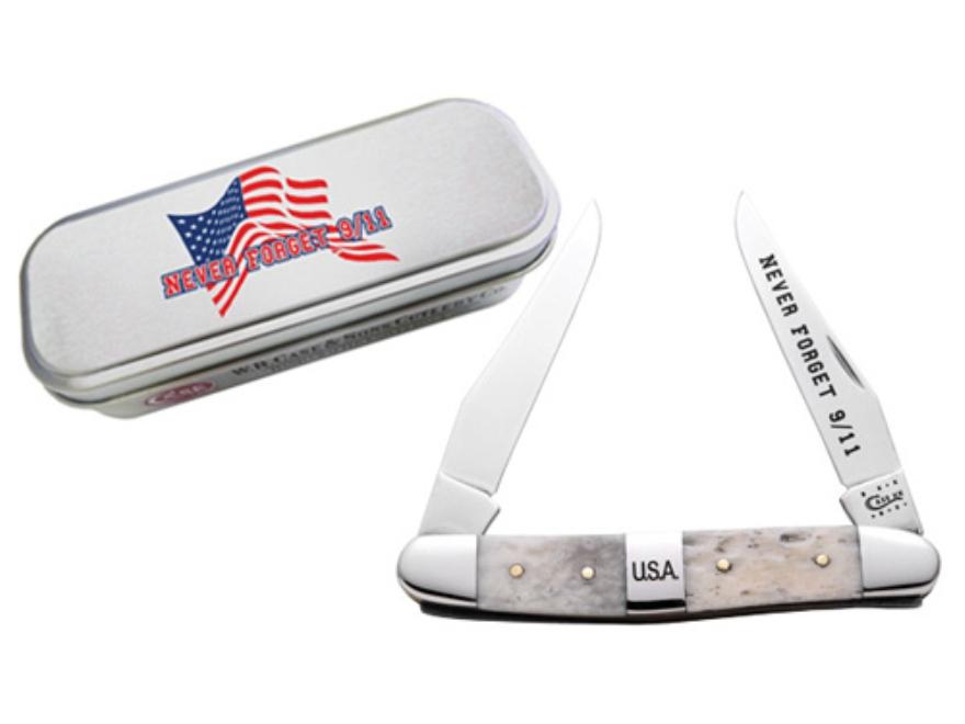 Case 91108 9/11 Commemorative Muskrat Folding Pocket Knife 2 Blade Clip Point Surigical Steel Blades Natural Bone Handle White