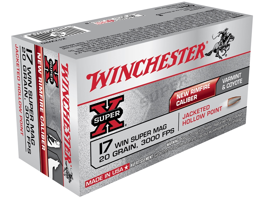 Winchester Super-X Ammunition 17 Winchester Super Magnum 20 Grain Jacketed Hollow Point