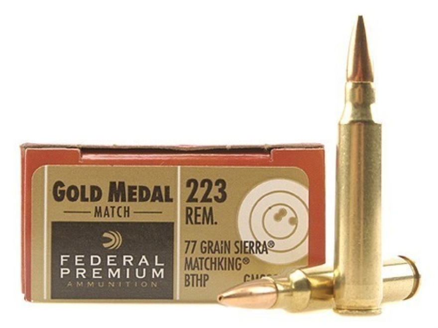 Federal Premium Gold Medal Ammunition 223 Remington 77 Grain Sierra MatchKing Hollow Po...