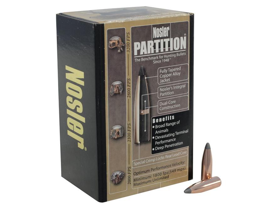 Nosler Partition Bullets 243 Caliber, 6mm (243 Diameter) 85 Grain Spitzer Box of 50