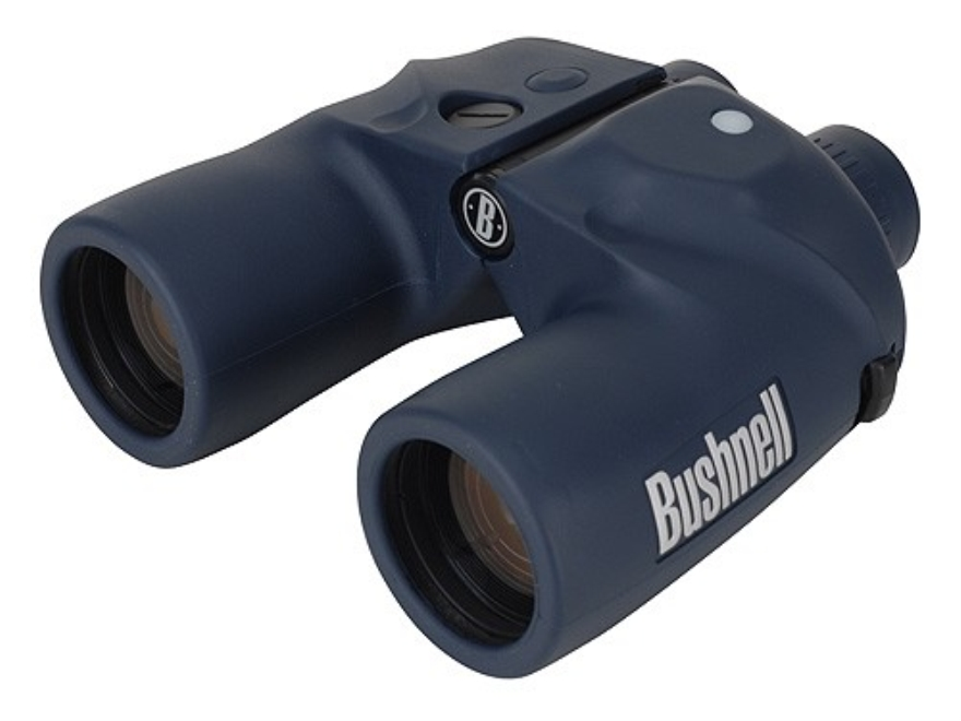 Bushnell Marine Binocular 7x 50mm Individual Focus Porro Prism with Rangefinding Reticle and Illuminated Compass Armored Black