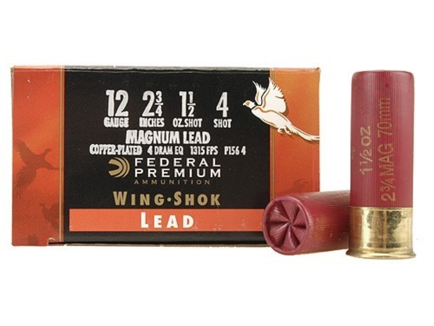 "Federal Premium Wing-Shok Ammunition 12 Gauge 2-3/4"" 1-1/2 oz Buffered #4 Copper Plated Shot Box of 25"