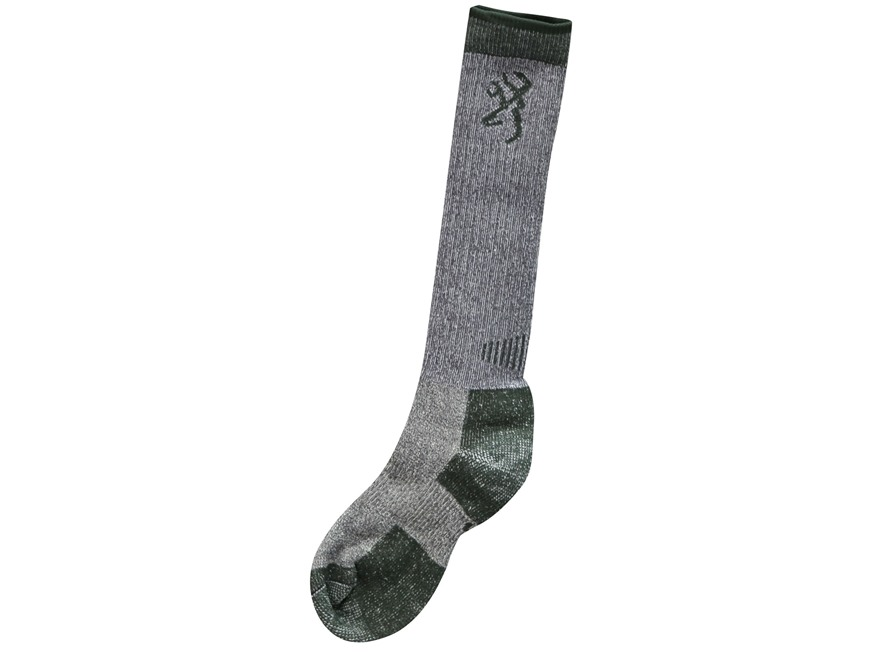 Browning Men's Midweight Tall Boot Socks Merino Wool Blend Charcoal Large 9-13