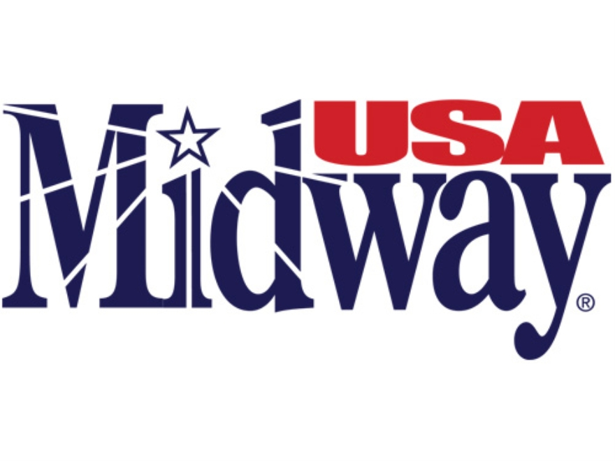 "MidwayUSA Logo Decal Large (6-3/4"" x 2-3/4"") Vinyl Blue/Red"