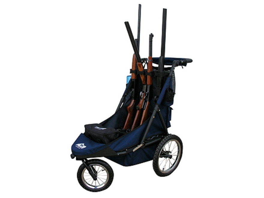 Rugged Gear Standard Four Gun Shooting Cart with Swivel Front Wheel Blue with Flat Free Tires