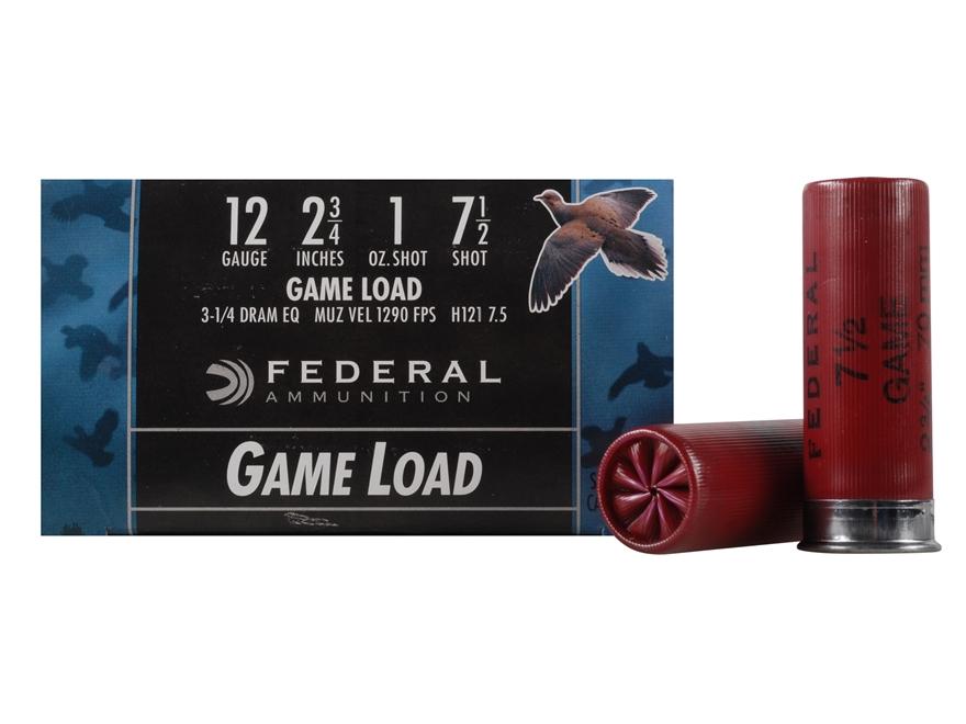 """Federal Game-Shok Game Load Ammunition 12 Gauge 2-3/4"""" 1 oz #7-1/2 Shot Box of 25"""