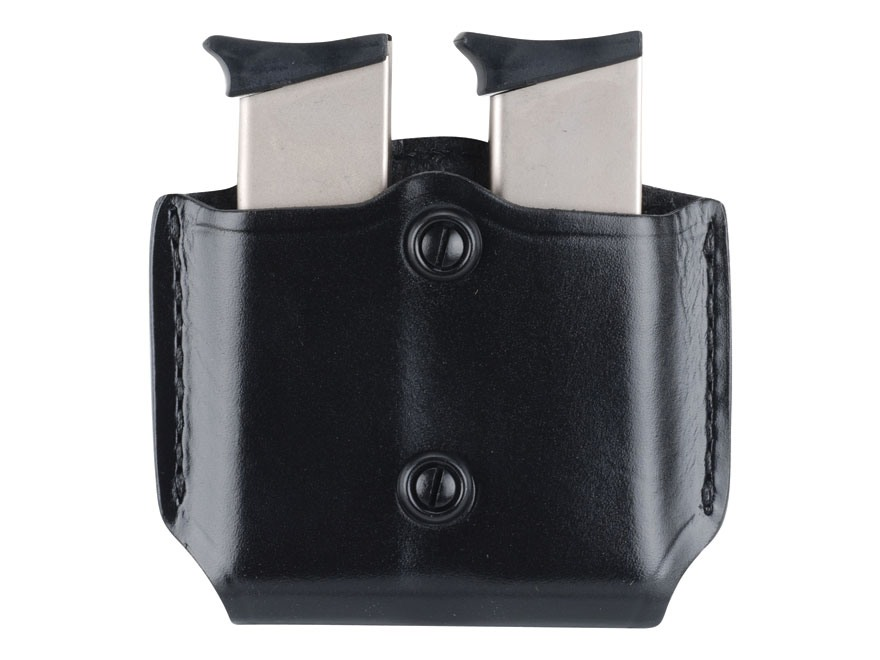 Gould & Goodrich B851 Belt Double Magazine Pouch Beretta 84, Colt 9mm-.45, HK P2000, Kimber all except Polymer, Sig 9mm-.45, S&W M&P, all except Sigma, Springfield XD 3,4, Taurus 24/7 Leather Black
