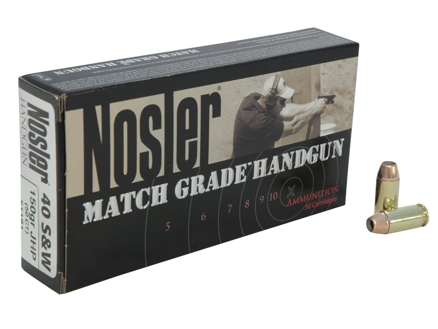 Nosler Match Grade Ammunition 40 S&W 150 Grain Jacketed Hollow Point Box of 50