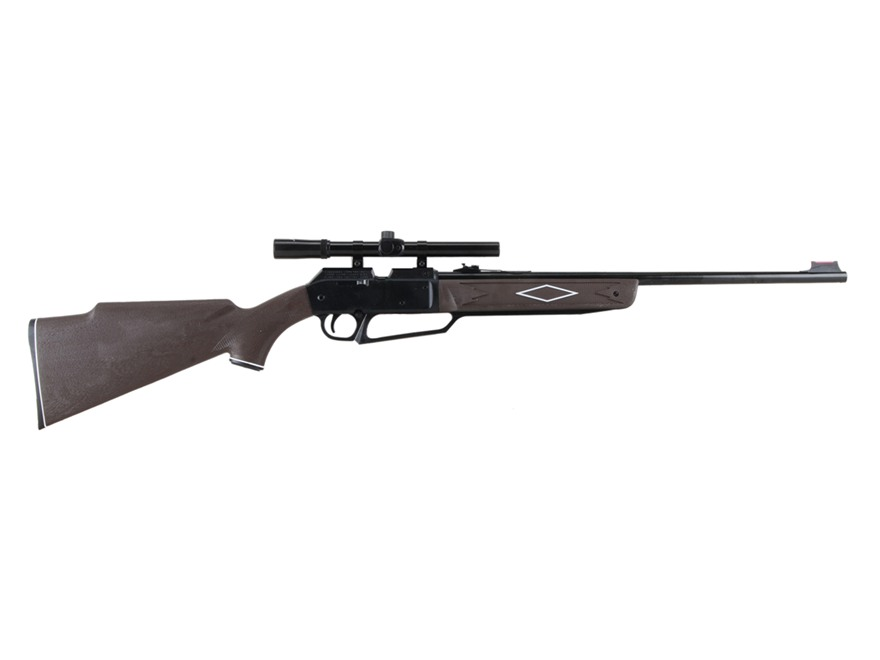 Daisy Powerline 880 Air Rifle 177 Caliber Brown Synthetic Stock Blue Barrel with Daisy Airgun Scope 4x 15mm Gloss