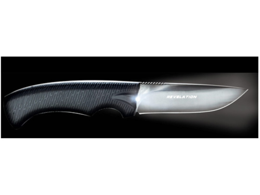 """Real Avid Revelation LED Lighted Fixed Blade Knife 4"""" Drop Point Black Titanium Nitride Finished 440 Stainless Steel Blade Rubber Handle Black"""