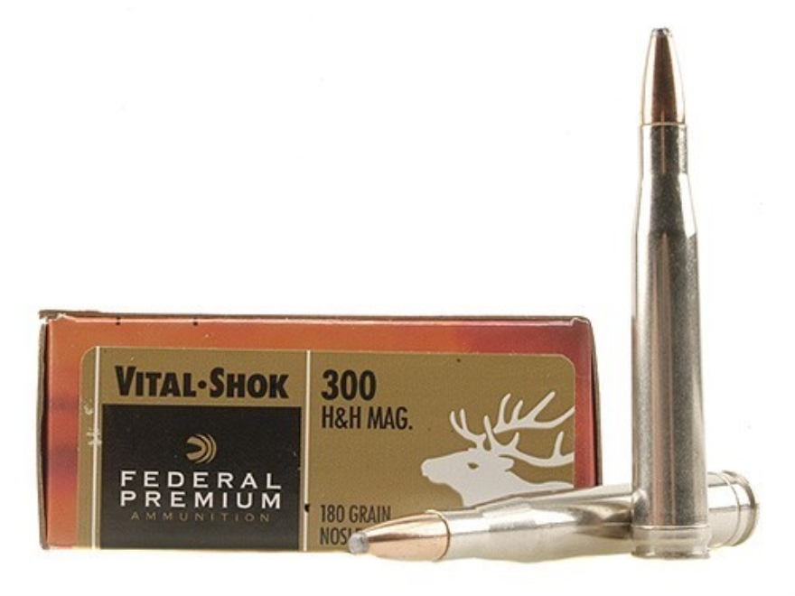 Federal Premium Vital-Shok Ammunition 300 H&H Magnum 180 Grain Nosler Partition Box of 20