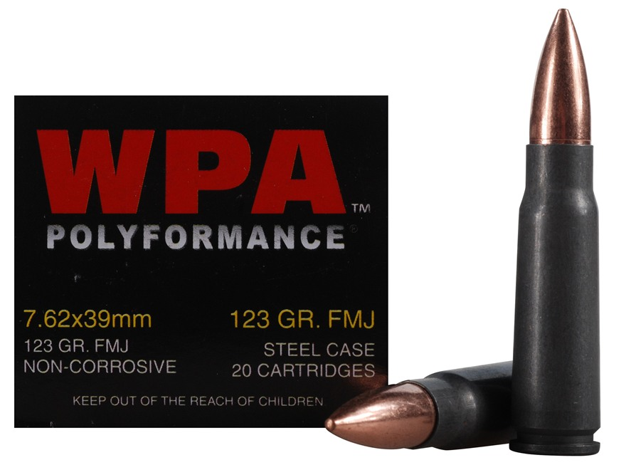 Wolf Ammunition 7.62x39mm 123 Grain Full Metal (Bi-Metal) Jacket Steel Case Berdan Primed Box of 20