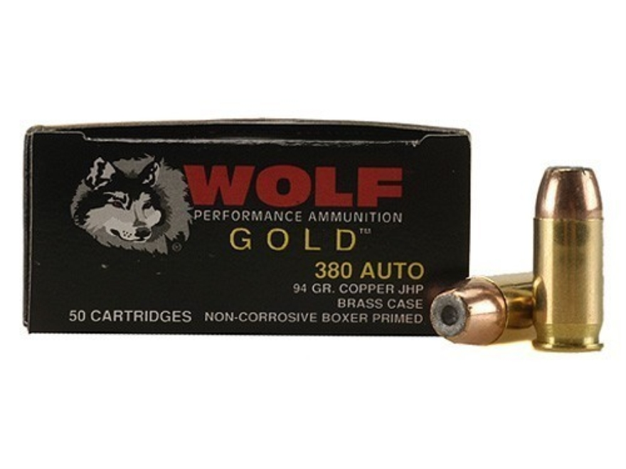 Wolf Gold Ammunition 380 ACP 94 Grain Jacketed Hollow Point Box of 50