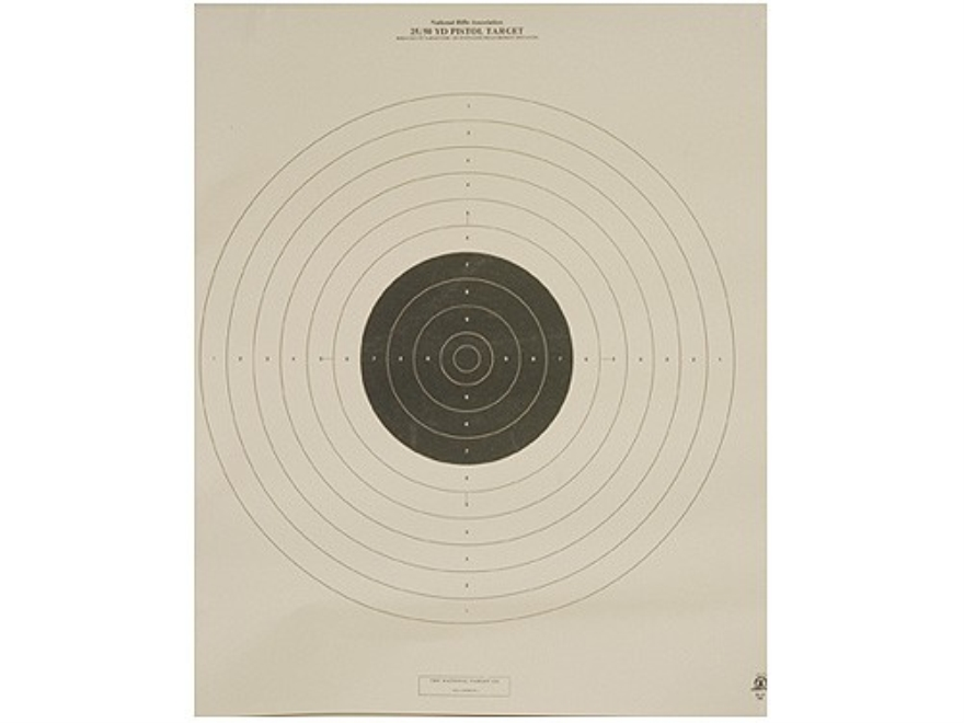 NRA Official International Pistol Targets B-19 25/50 Yard Slow Fire Paper Package of 100