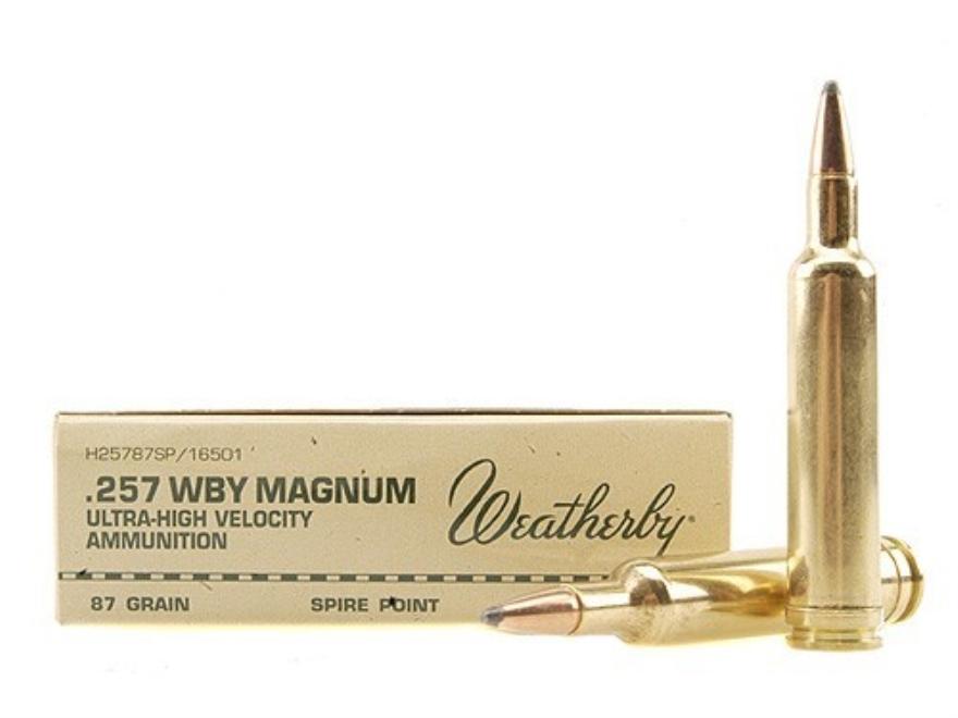 Weatherby Ammunition 257 Weatherby Magnum 87 Grain Hornady InterLock Spire Point Box of 20