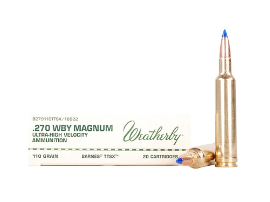 Weatherby Ammunition 270 Weatherby Magnum 110 Grain Barnes Tipped Triple-Shock X Bullet Lead-Free Box of 20