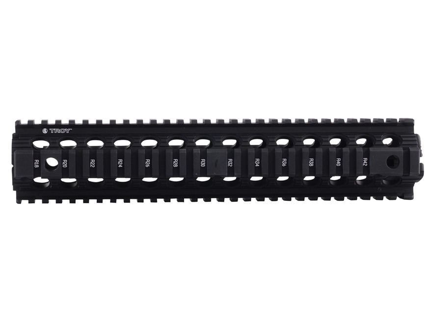 "Troy Industries 12"" MRF Drop-In Battle Rail 2-Piece Quad Rail Handguard AR-15 Rifle Length Black"