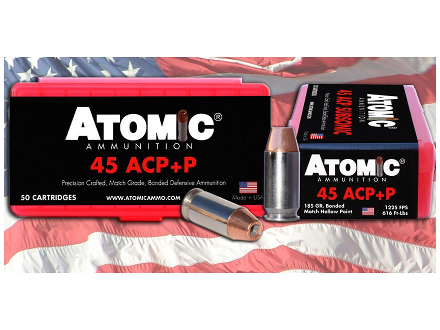 Atomic Ammunition 45 ACP +P 185 Grain Bonded Jacketed Hollow Point Box of 50