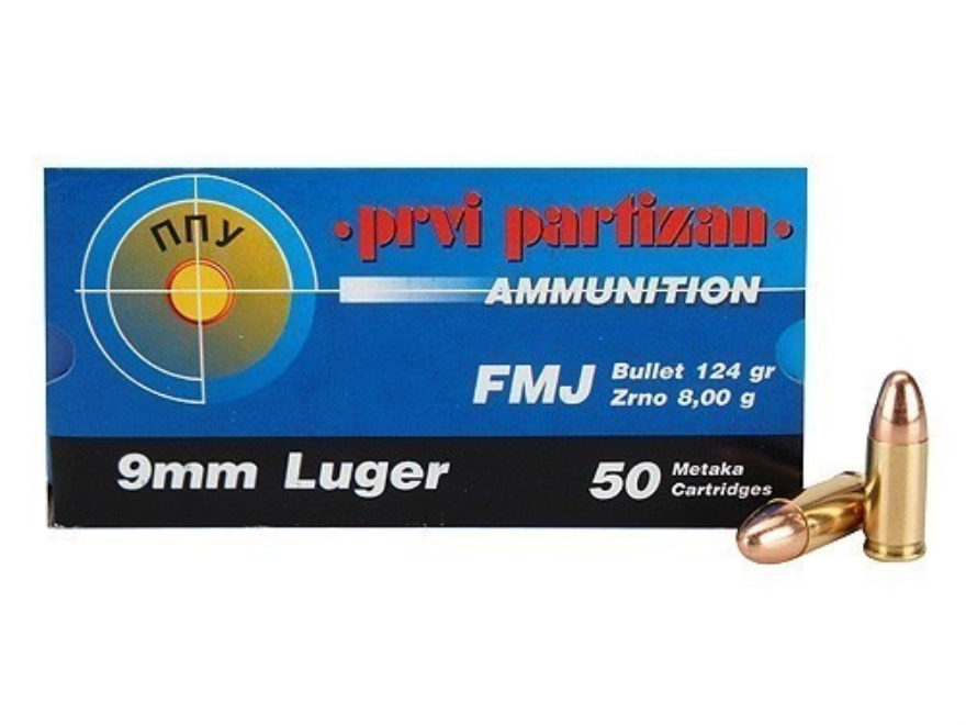 Prvi Partizan Ammunition 9mm Luger 124 Grain Full Metal Jacket Box of 50