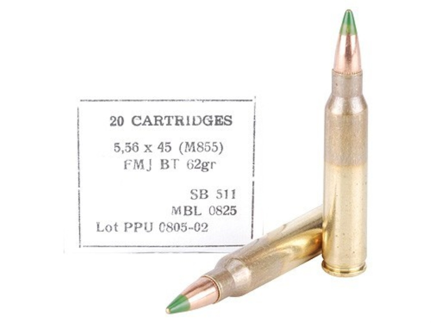 Prvi Partizan Ammunition 5.56x45mm NATO 62 Grain M855 SS109 Penetrator Full Metal Jacket Box of 20