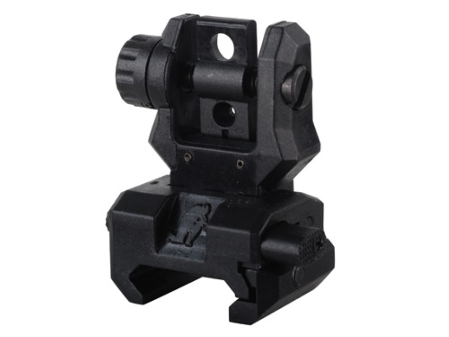 Command Arms Spring-Actuated Low Profile Flip-Up Rear Sight AR-15 Flat-Top Polymer Black