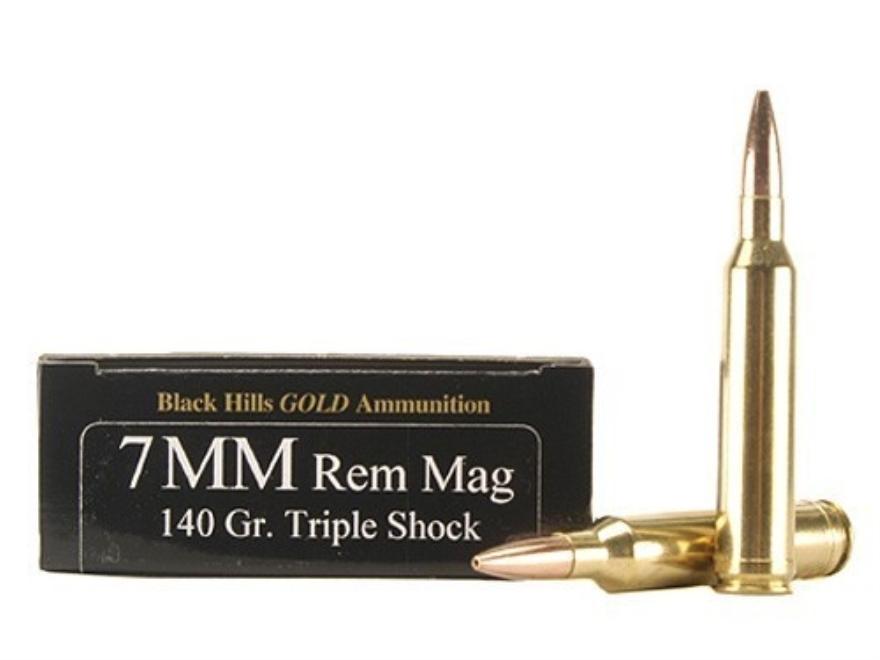 Black Hills Gold Ammunition 7mm Remington Magnum 140 Grain Barnes Triple-Shock X Bullets Hollow Point Flat Base Lead-Free Box of 20