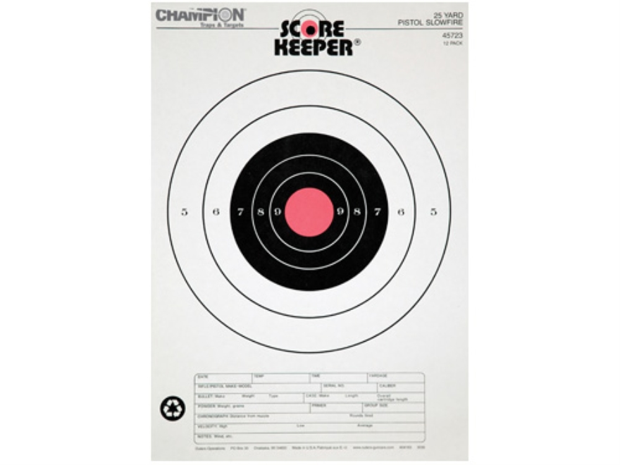 "Champion Score Keeper 25 Yard Slow Fire Pistol Target 11"" x 16"" Paper Orange Bull"