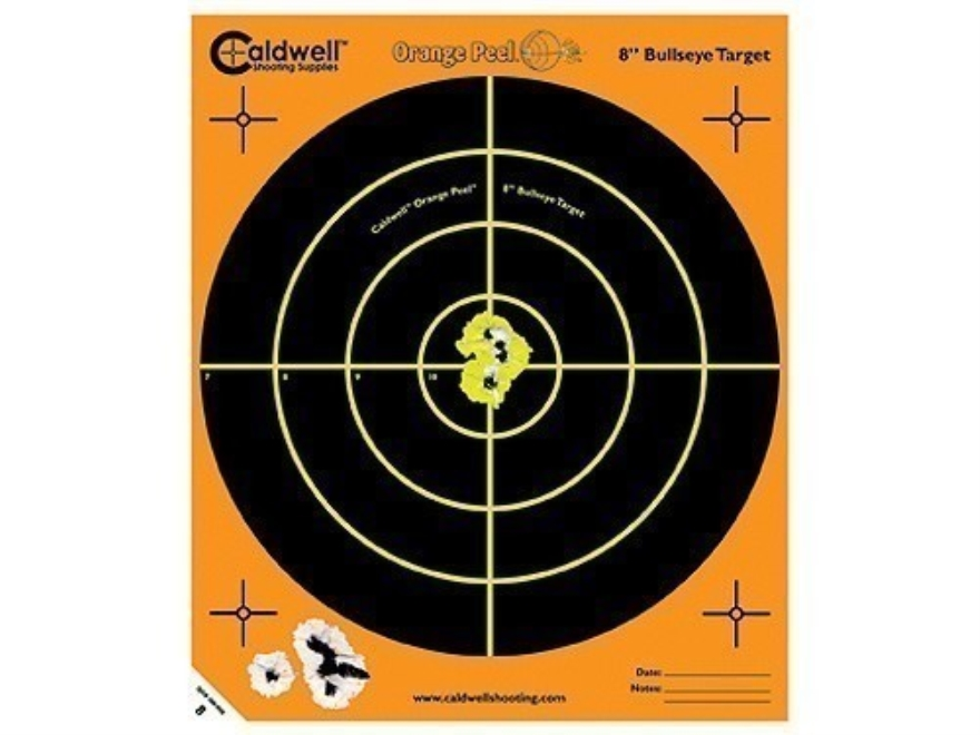 "Caldwell Orange Peel Targets 8"" Self-Adhesive Bullseye Package of 25 Factory Second"