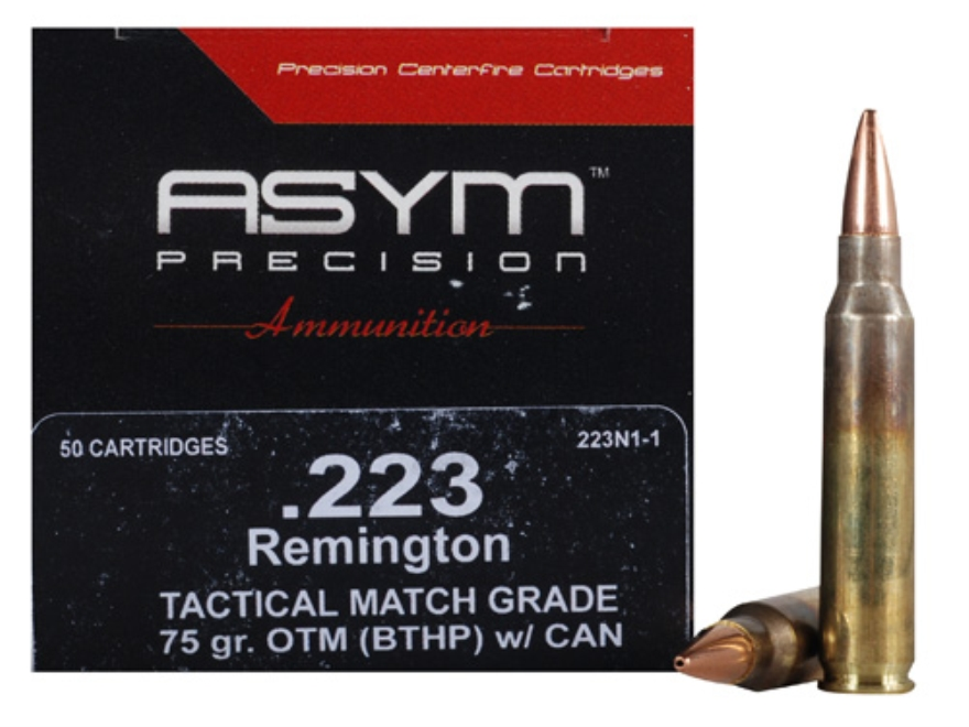 ASYM Precision Tactical Match Ammunition 223 Remington 75 Grain Open-Tip Match (OTM) with Cannelure Box of 50