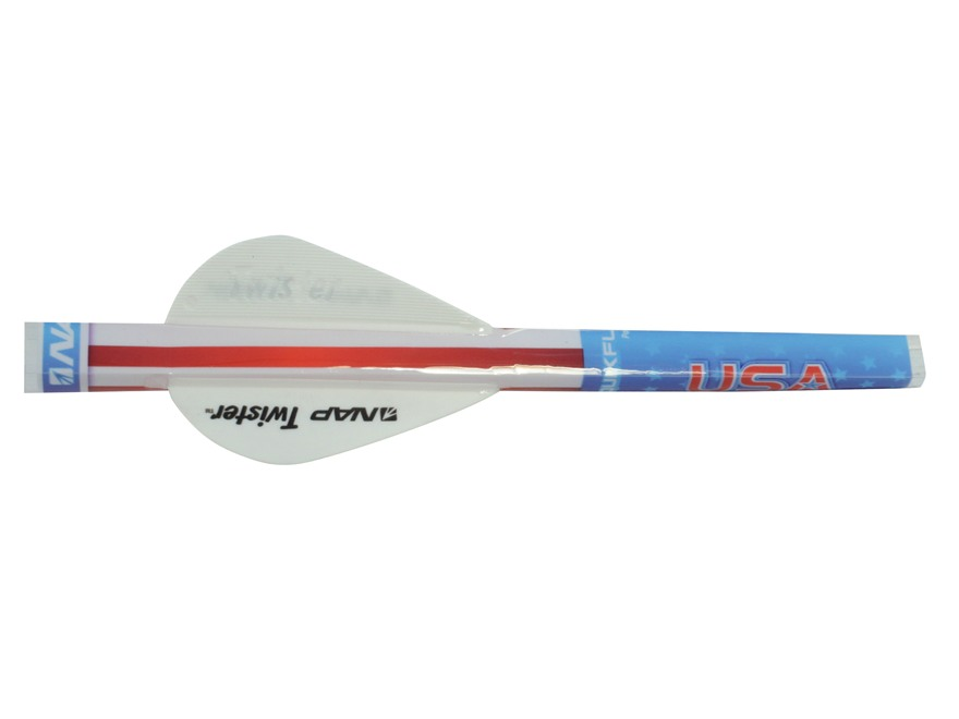 "NAP Quikfletch Quikspin Wounded Warrior Project Arrow Fletching System 2"" All White Pack of 6"
