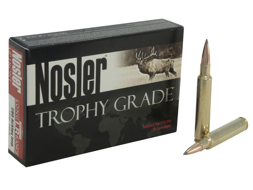 Nosler Trophy Grade Ammunition 280 Remington Ackley Improved 150 Grain AccuBond Long Range Box of 20