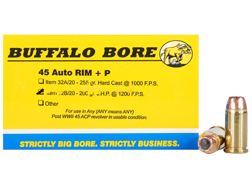 Buffalo Bore Ammunition 45 Auto Rim (Not ACP) +P 200 Grain Jacketed Hollow Point Box of 20