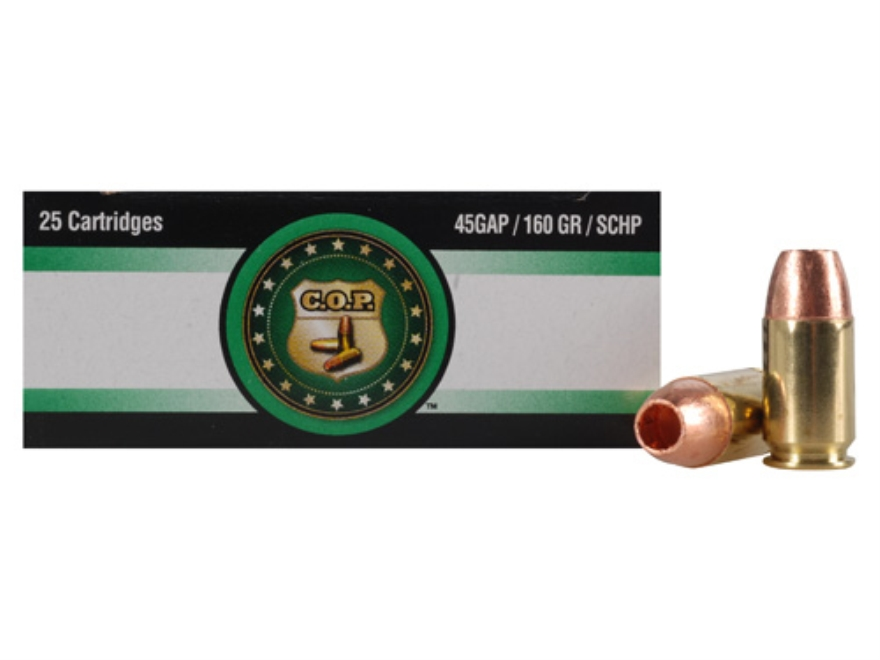 Copper Only Projectiles (C.O.P.) Ammunition 45 GAP 160 Grain Solid Copper Hollow Point Lead-Free Box of 25