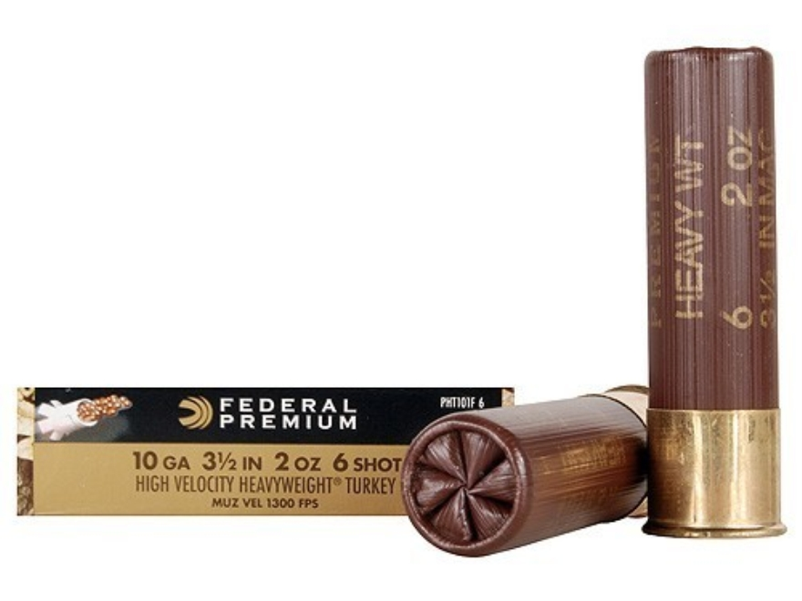 "Federal Premium Mag-Shok Turkey Ammunition 10 Gauge 3-1/2"" 2 oz #6 Heavyweight Non-Toxic Shot Flitecontrol Wad Box of 5"