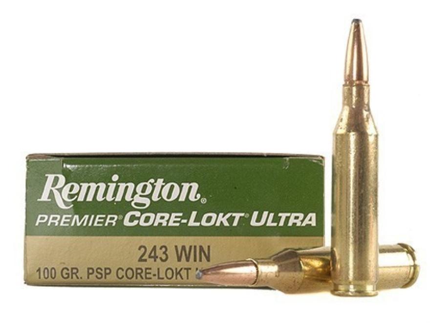 Remington Premier Ammunition 243 Winchester 100 Grain Core-Lokt Ultra Bonded Pointed So...