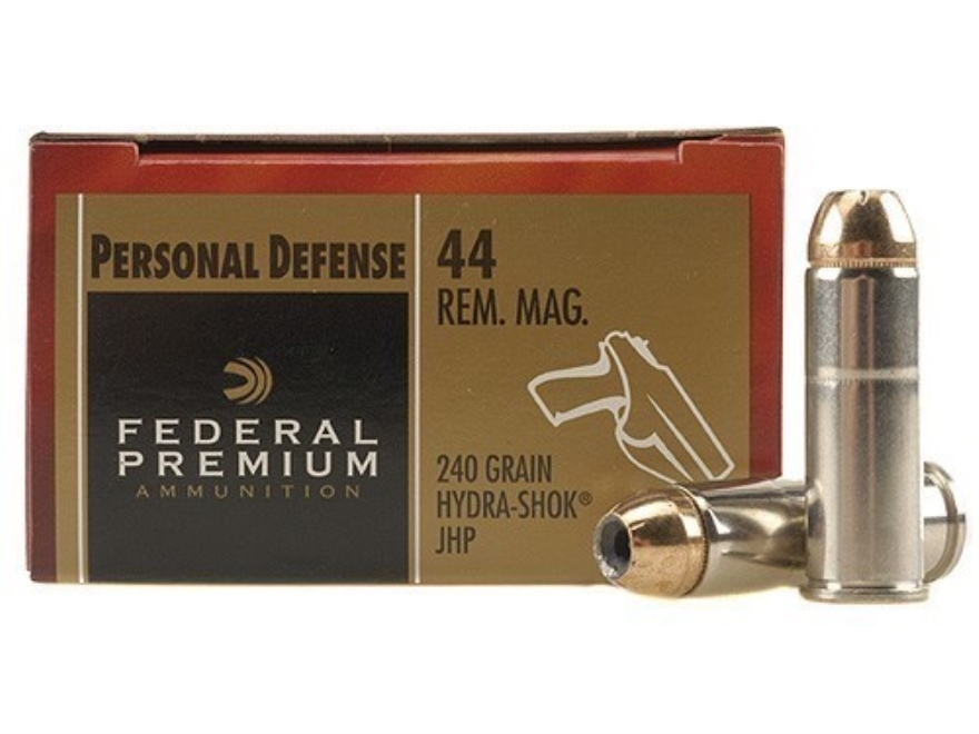Federal Premium Personal Defense Ammunition 44 Remington Magnum 240 Grain Hydra-Shok Jacketed Hollow Point Box of 20