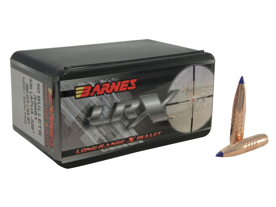 Barnes Long-Range Hunting Bullets 338 Lapua Magnum (338 Diameter) 280 Grain LRX Boat Tail Box of 50