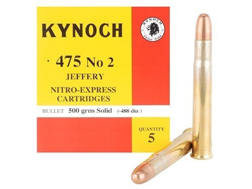 Kynoch Ammunition 475 Number 2 Jeffery 500 Grain Woodleigh Welded Core Solid Box of 5